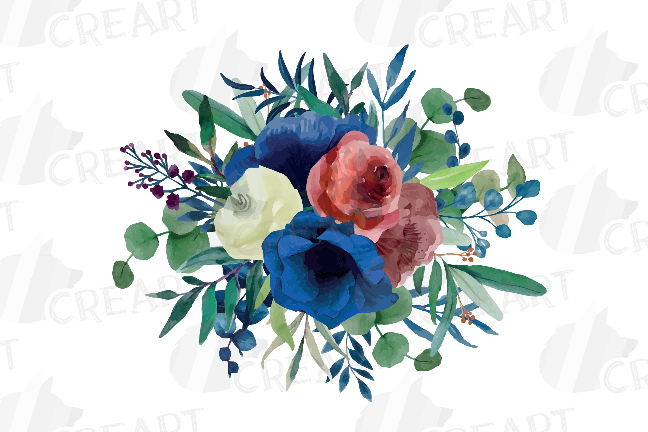 Colorful navy and burgundy floral watercolor wedding bouquet example image 17