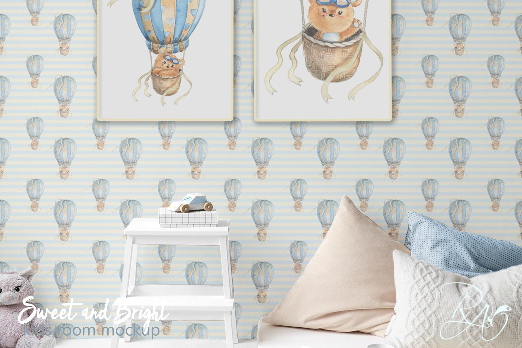 PSD Nursery mockup Kids room mockup Blank wall Print mockup example image 3