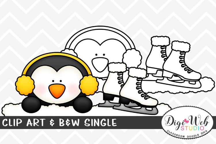 Clip Art & B&W Single - Winter Penguin w/ Ice Skates Topper example image 1