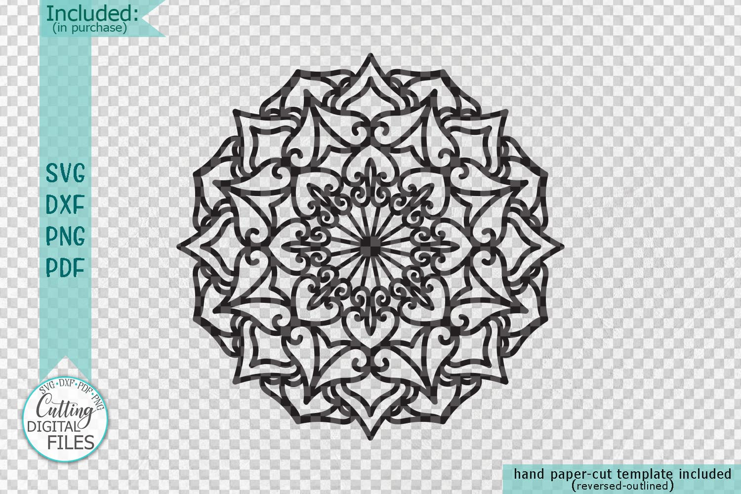 Mandala set corner half border plotter cut svg dxf templates example image 2