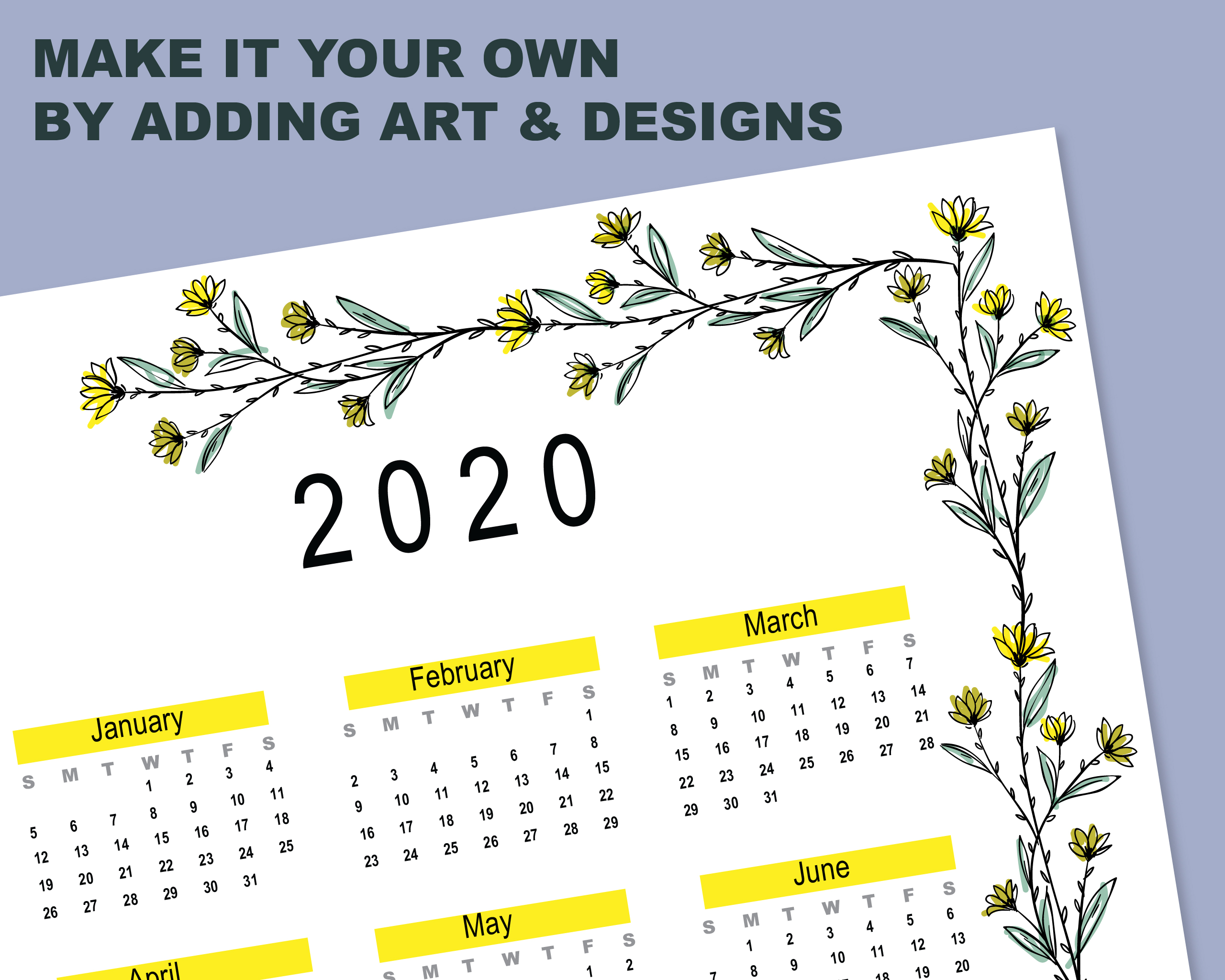 2020 Calendar Template for Commercial Use - PSD, EPS, PDF example image 2