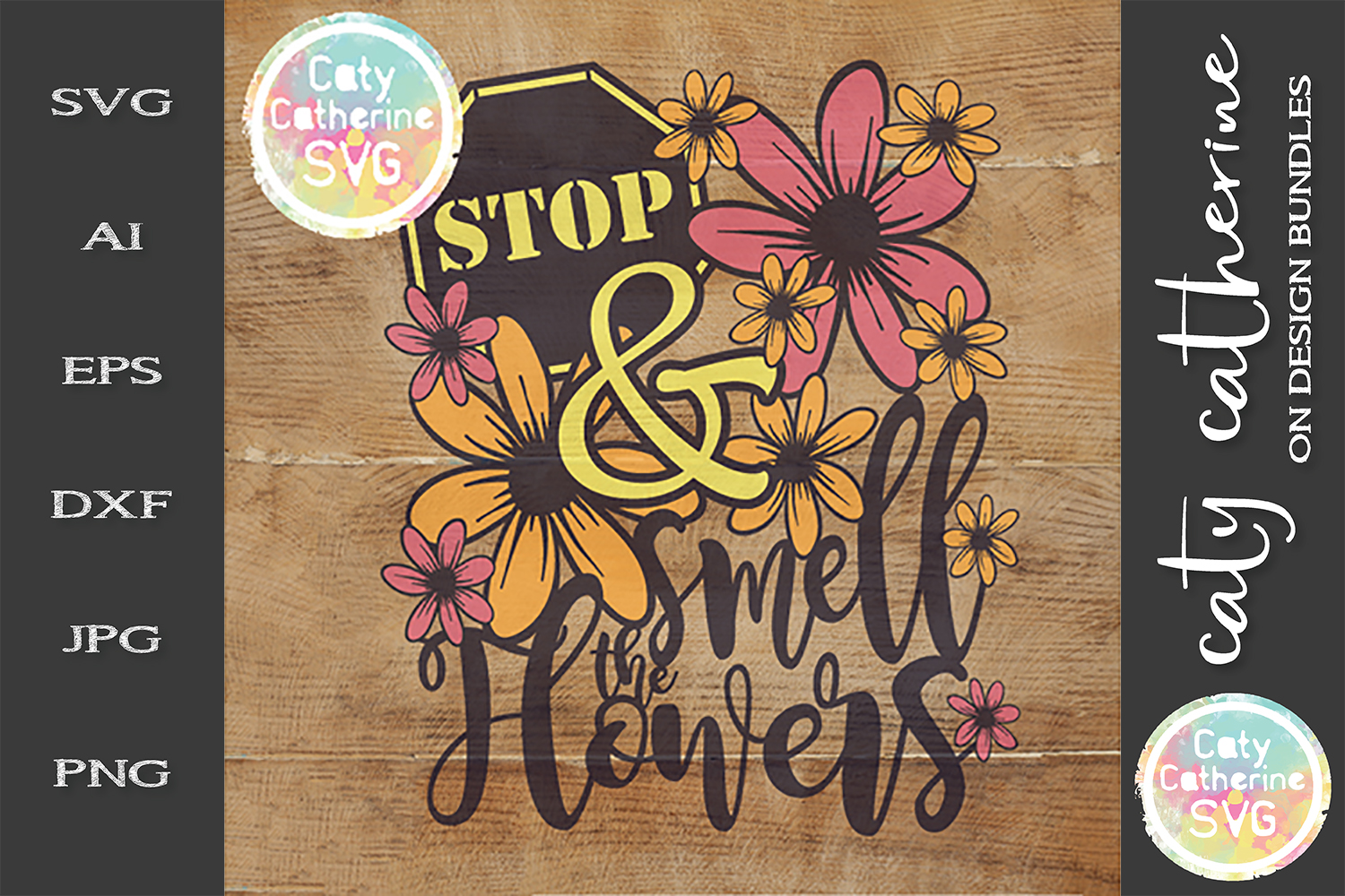 Stop And Smell The Flowers SVG Cut File example image 1