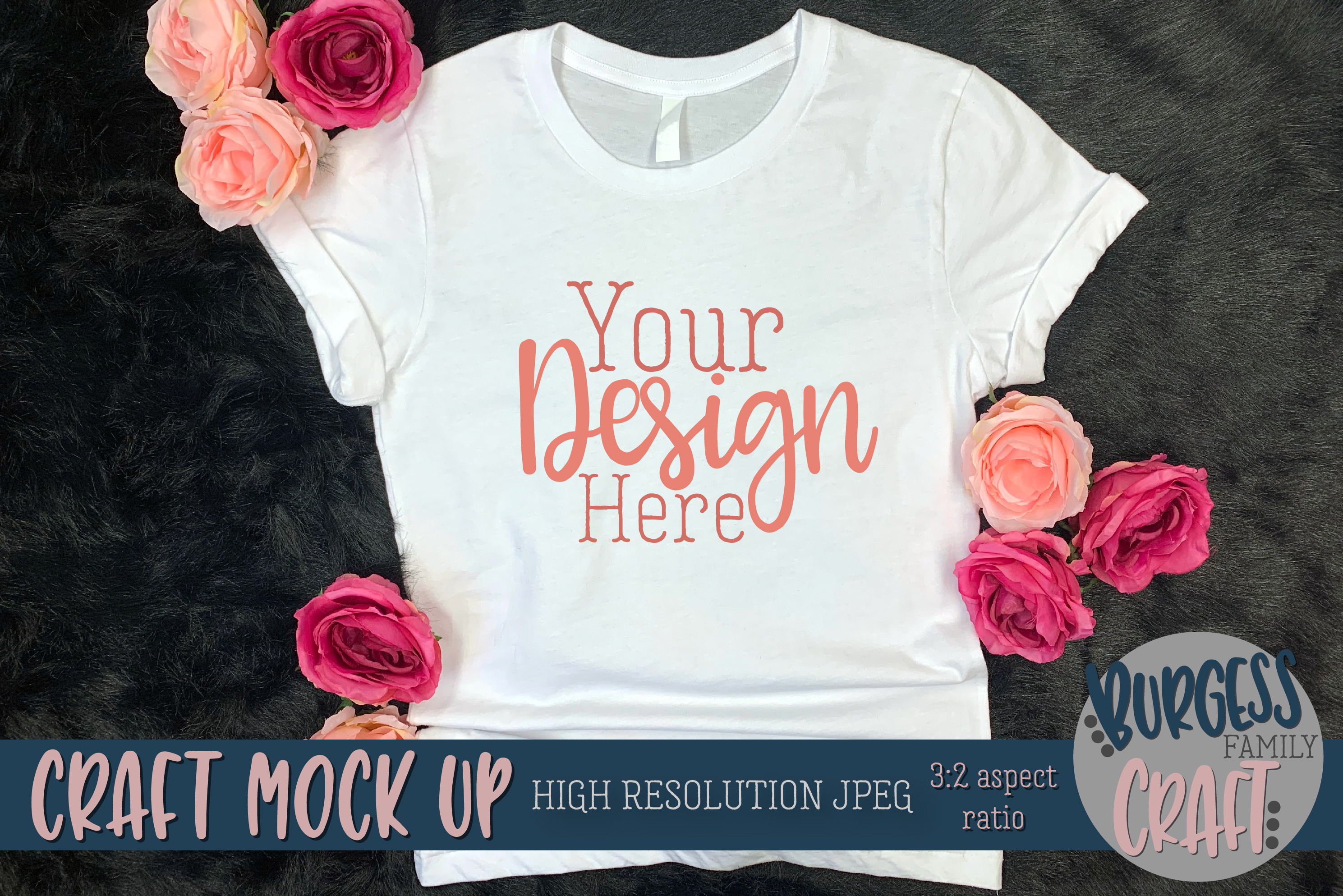 Pretty womens shirt w/flowers Craft mock up | High Res JPEG example image 3