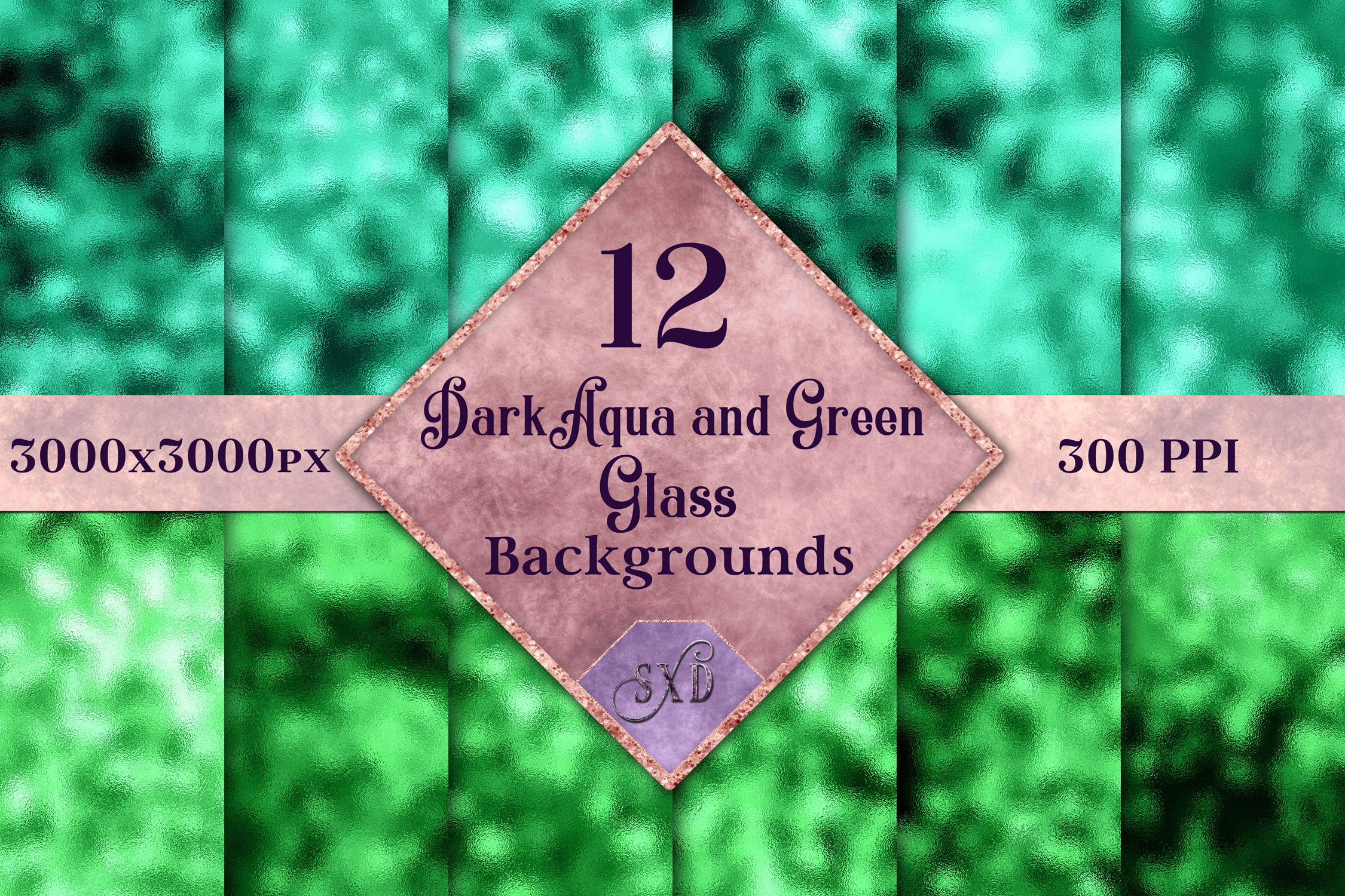 Dark Aqua and Green Glass Backgrounds - 12 Image Textures example image 1