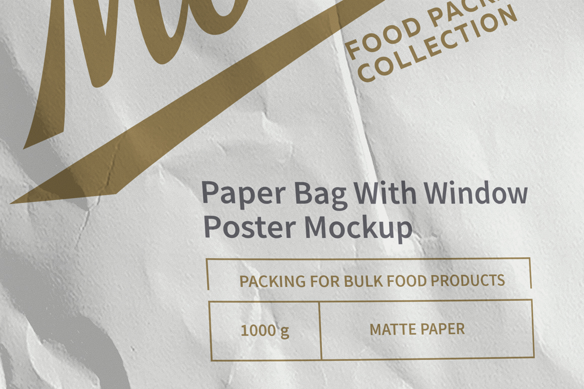 White Paper Bag with Window Mockup example image 5