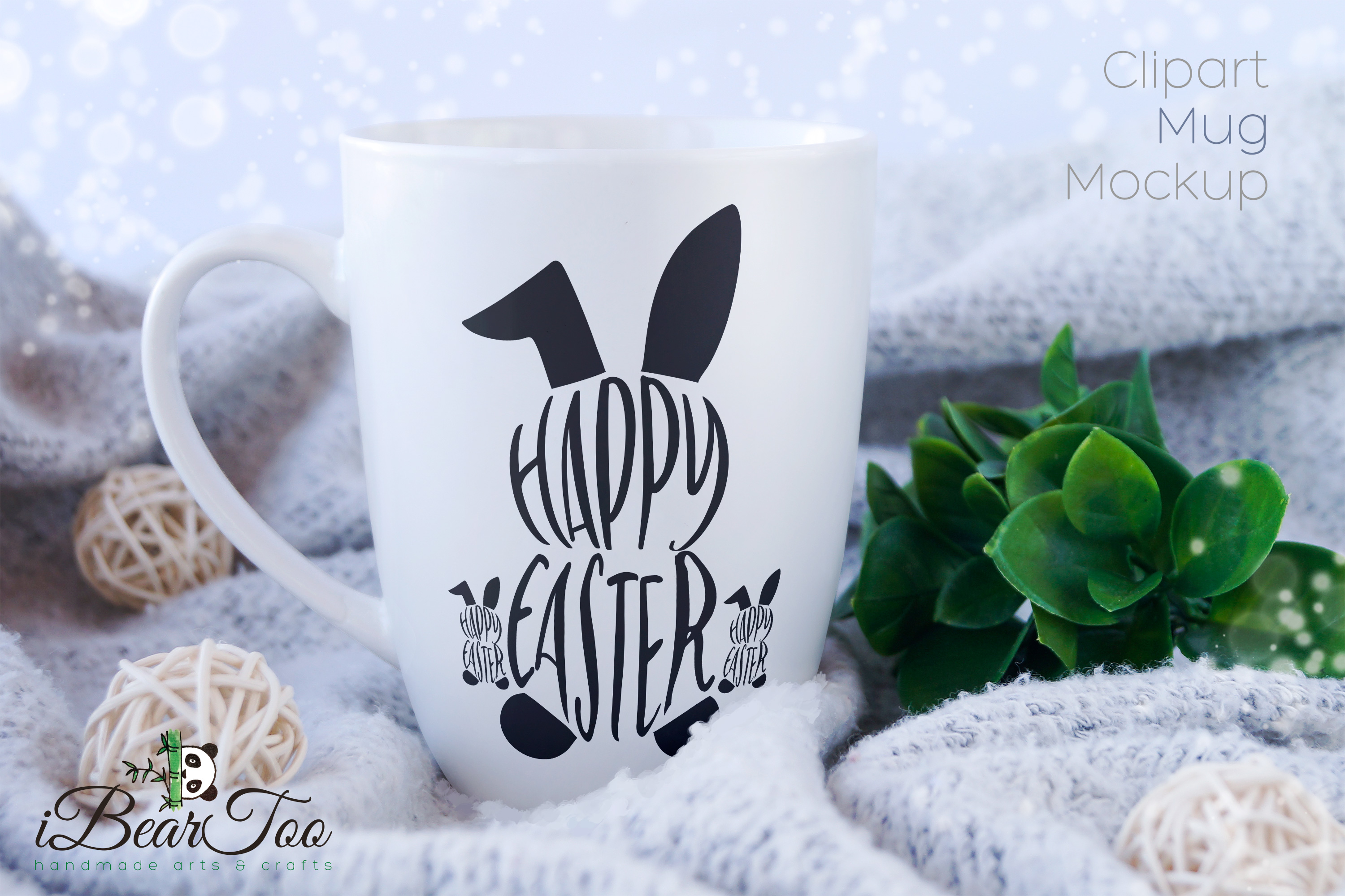 Happy Easter Bunny SVG Rabbit Black Clipart Vector Cut Files example image 3