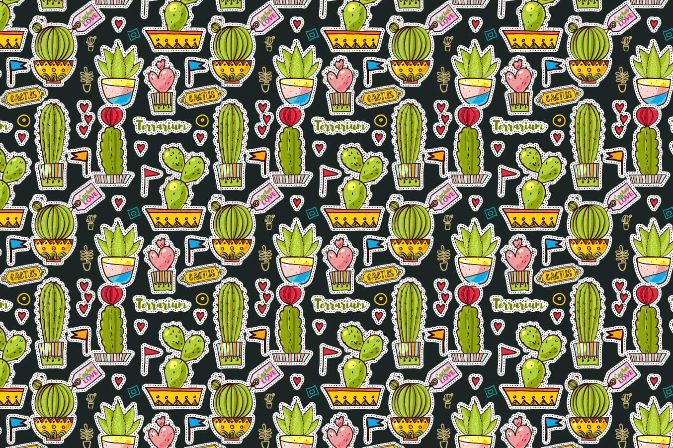 Set Fashion patches with cacti example image 8