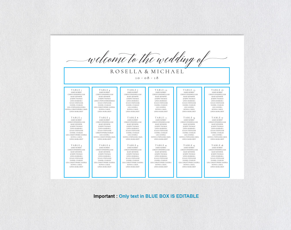 wedding seating chart sign landscape, TOS_15 example image 3