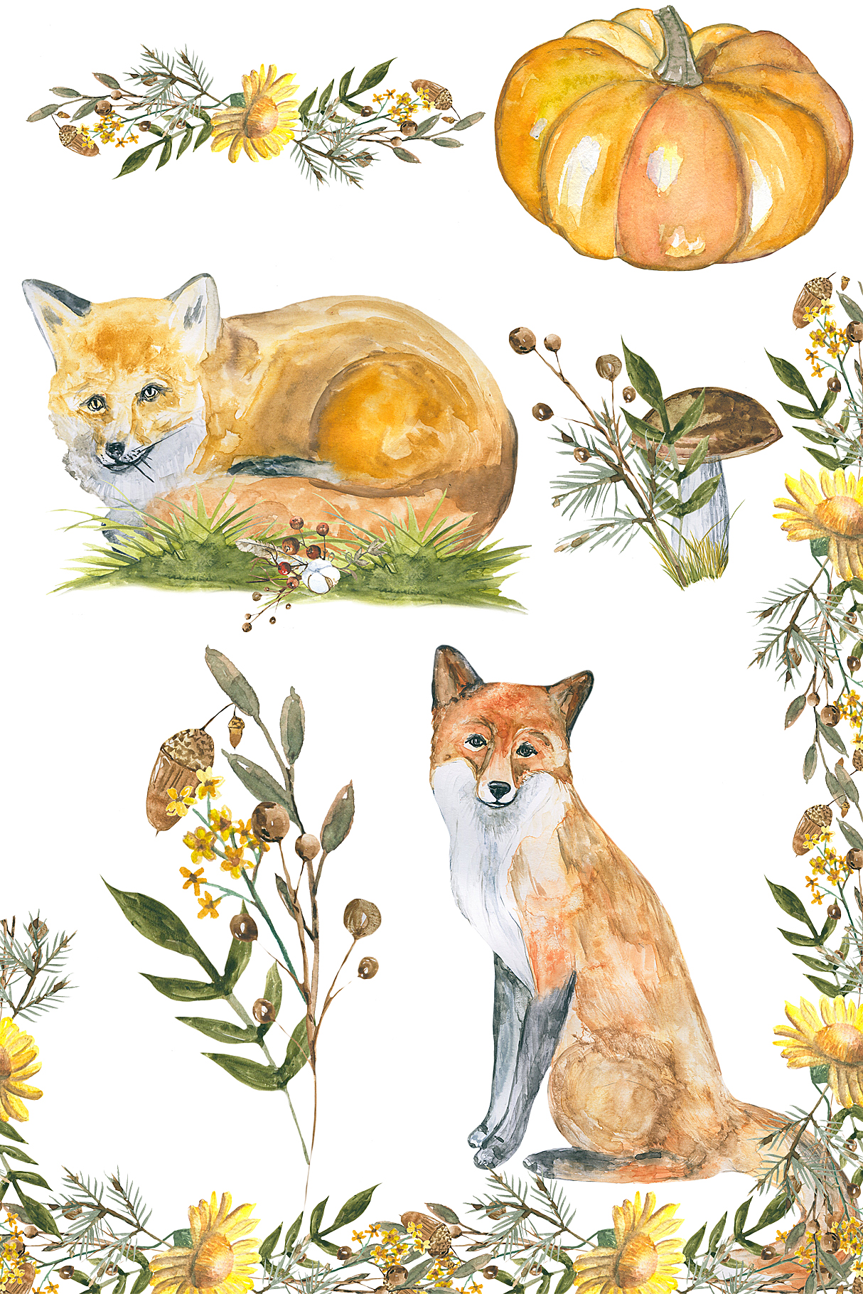 Autumn and foxes animals set example image 2