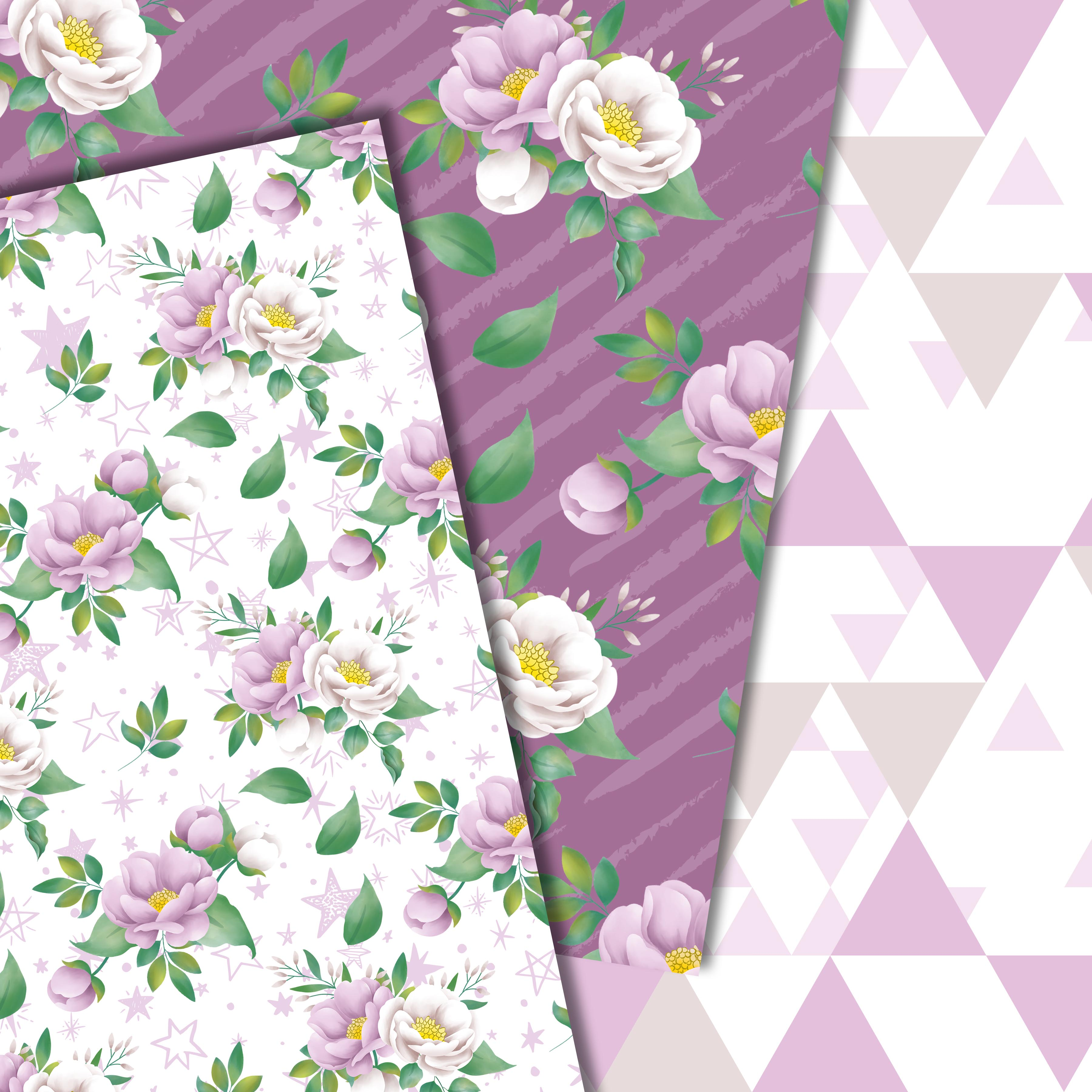 Purple flowers paper example image 2