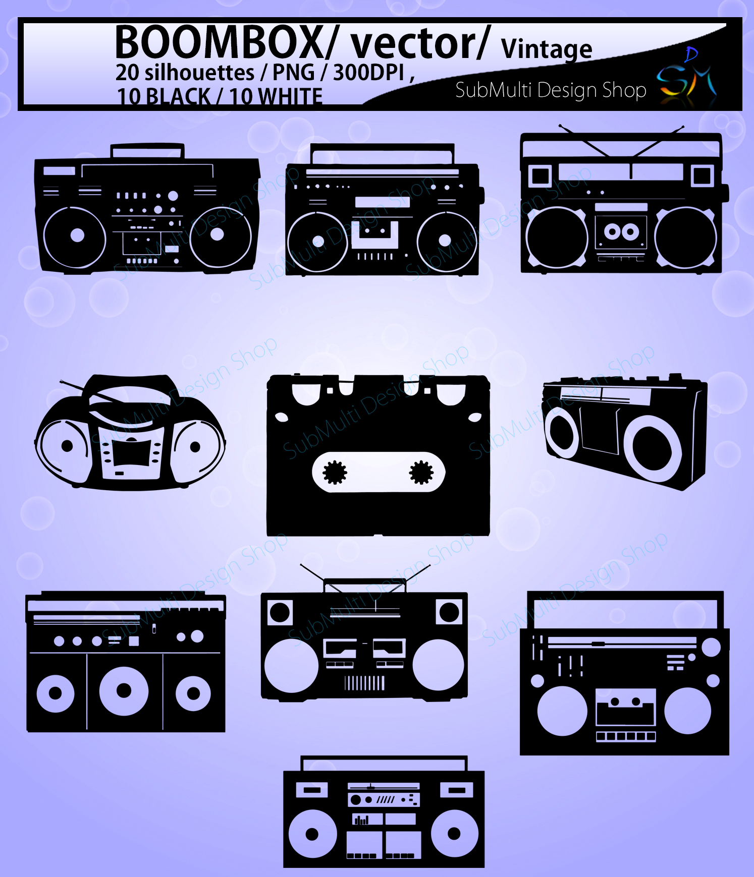Boombox silhouette svg / 10B + 10W Boombox / Boombox digital clipart / vintage silhouette / SVG / tape recorder / vector example image 2