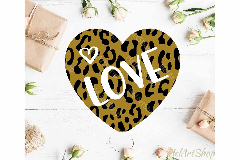 Leopard Print Heart svg, Valentine svg, Valentines day svg example image 1