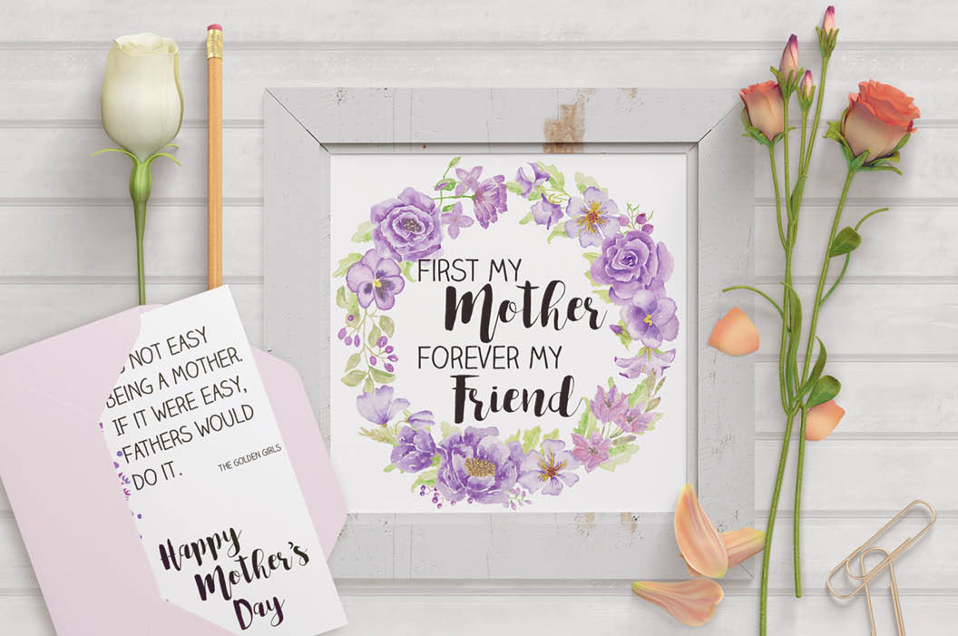 Mother's day wall art: purple flowers example image 1