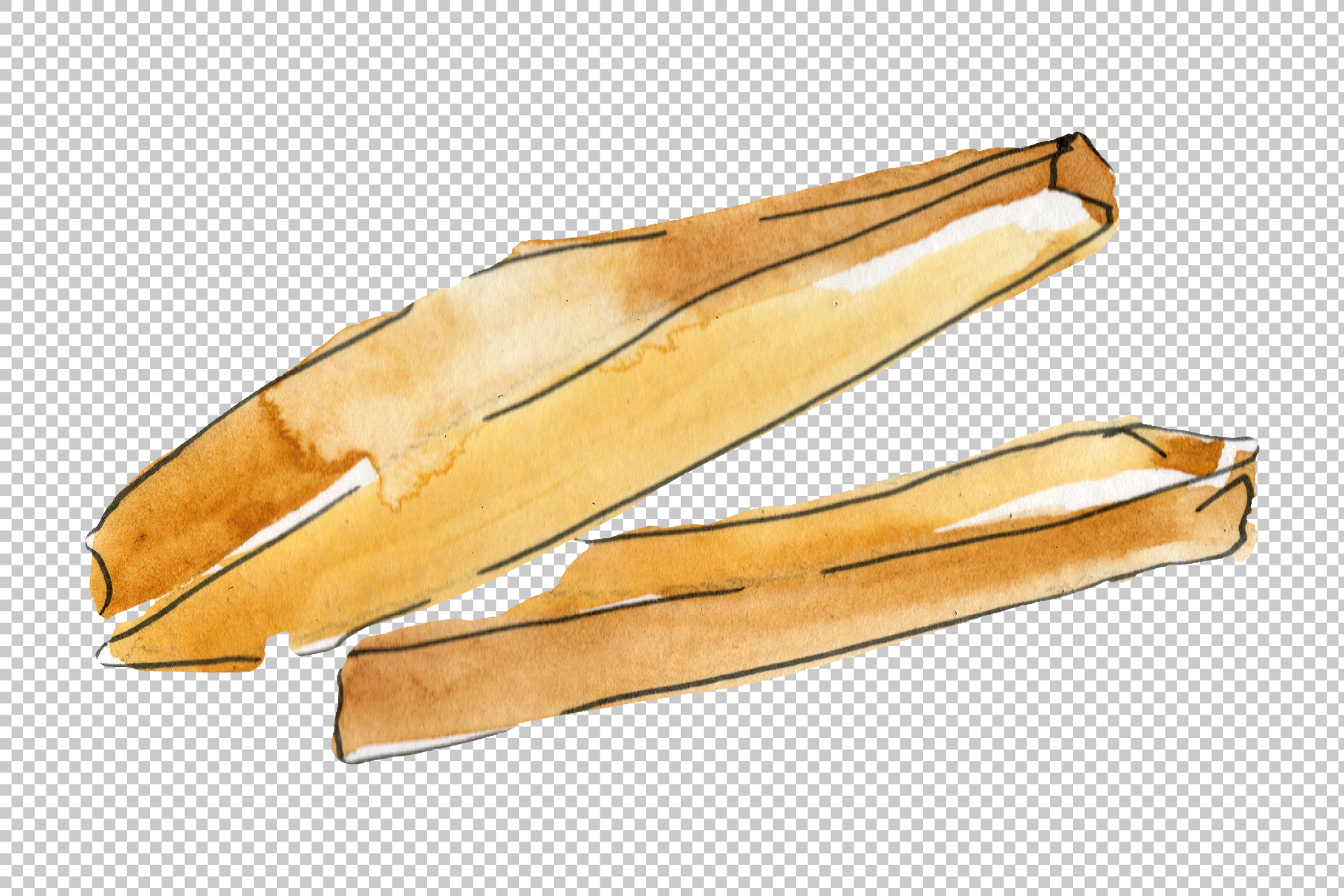French fries Watercolor png example image 6