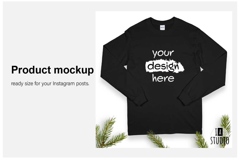 Christmas Long Sleeve Tee Mockup / Gildan 2400 / Black example image 3