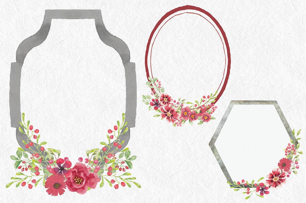 Watercolor clip art bundle: red berries 'n blooms example image 7