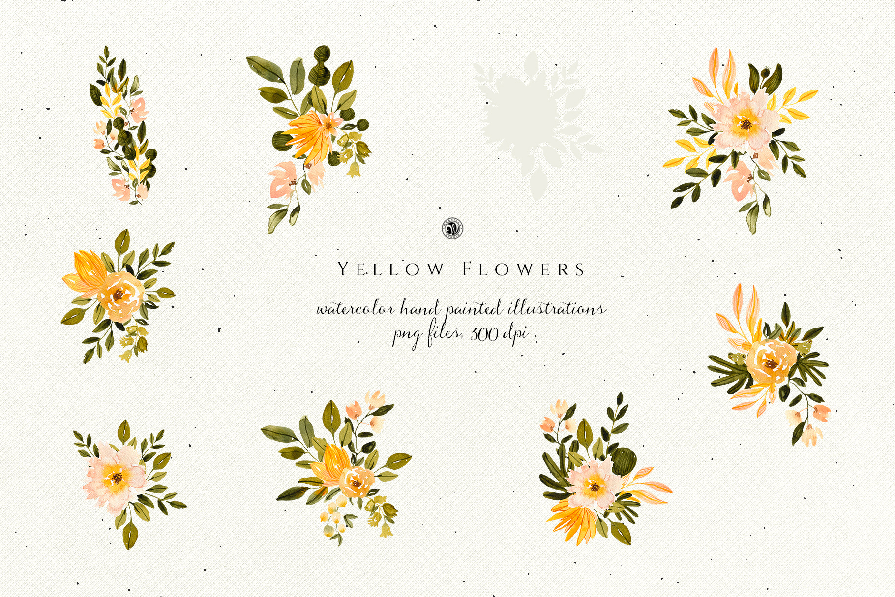 Yellow Watercolor Flowers example image 5
