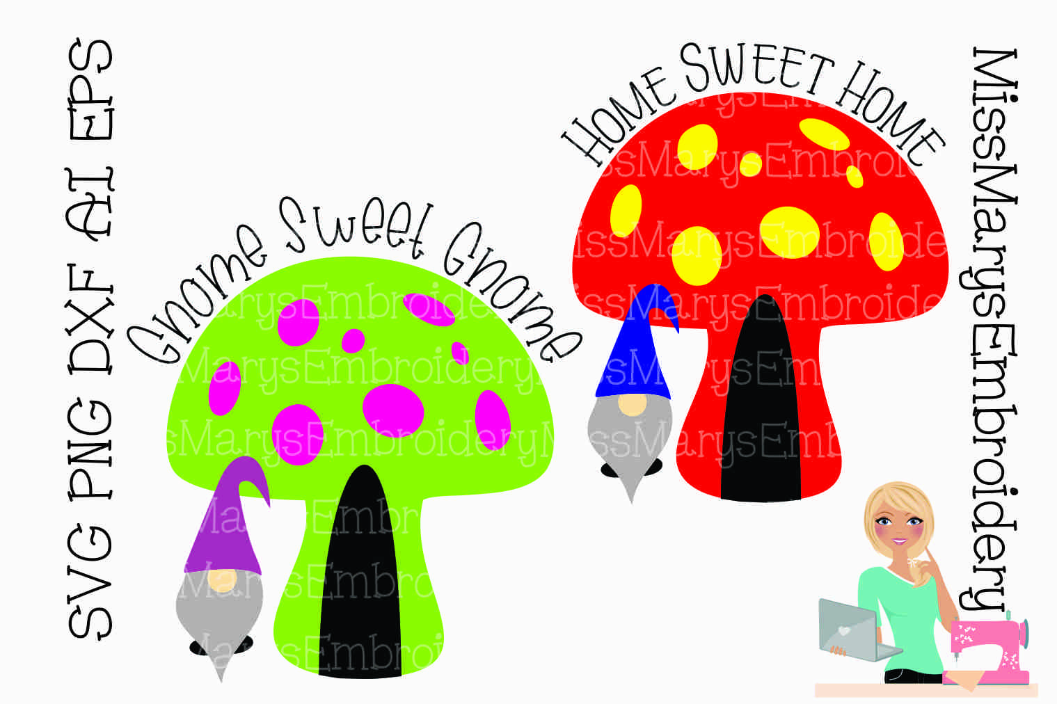 Home Sweet Gnome SVG Cutting File PNG DXF AI EPS example image 1
