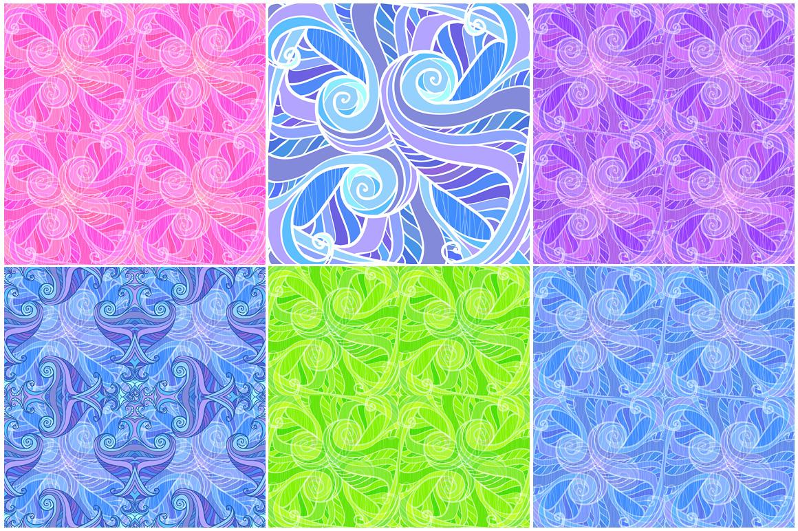 12 ornate wavy seamless patterns example image 4