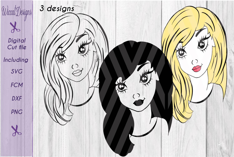 Girl svg, Girl face svg, Line art girl svg, teen svg, example image 4