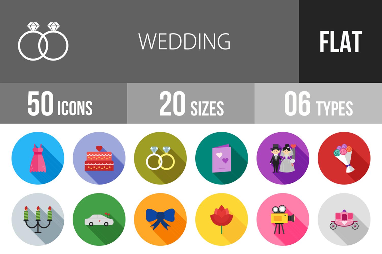 50 Wedding Flat Long Shadow Icons example image 1