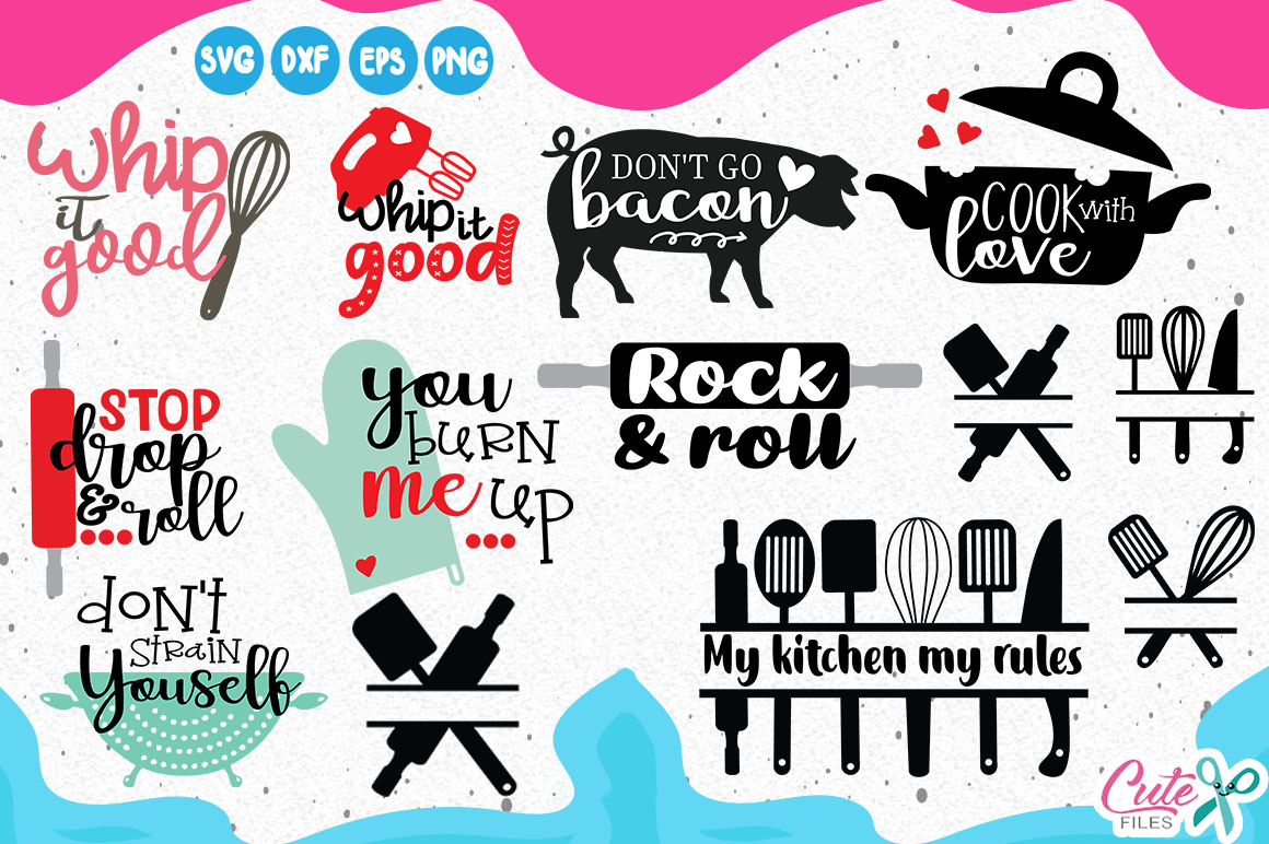 Kitchen bundle, my kitchen my rules svg cut files example image 2