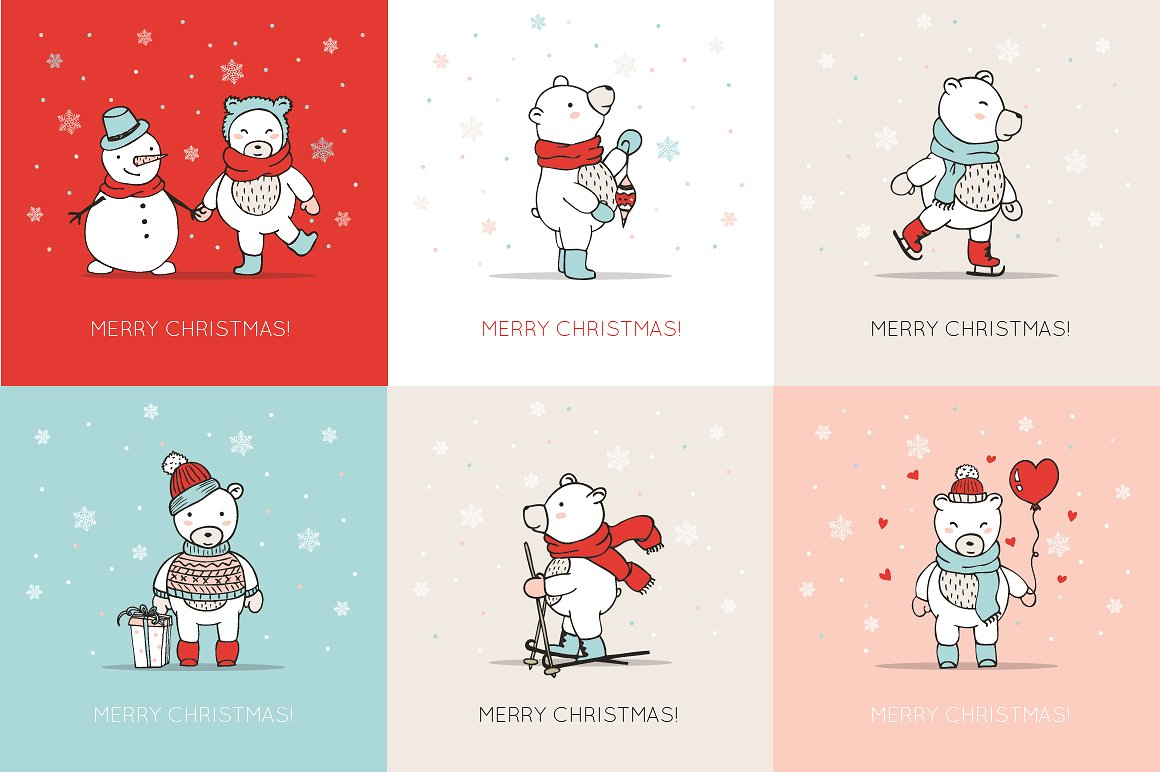 Christmas Bears Icons & Cards example image 2