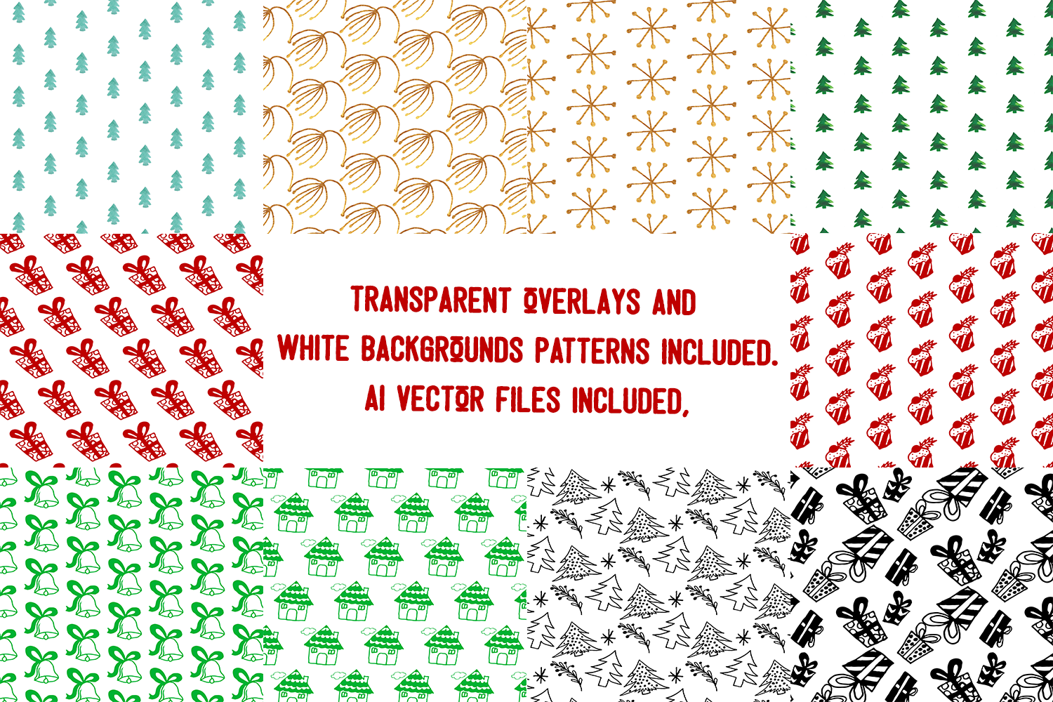 Hand Drawn Christmas Patterns II example image 3
