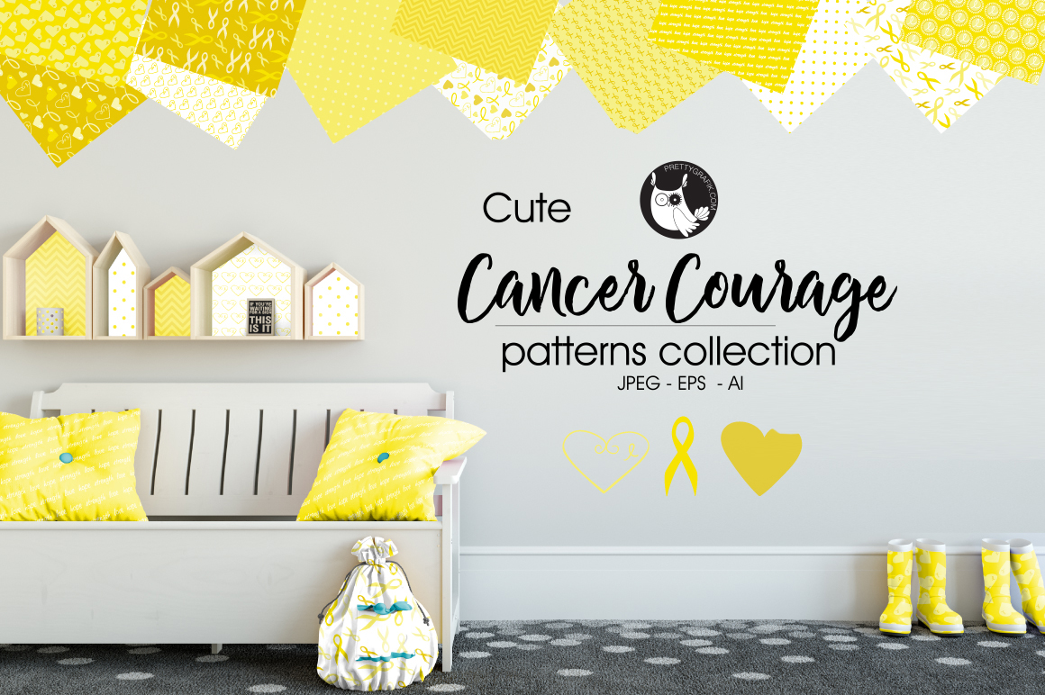 cancer courage, digital papers example image 1
