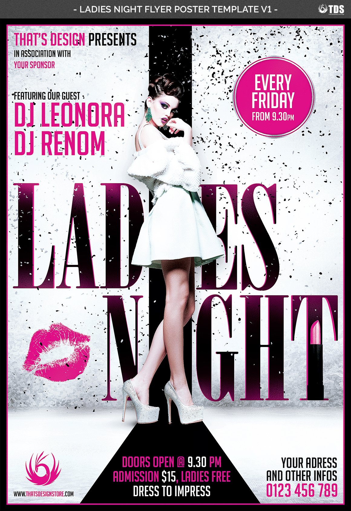 Ladies Night Fyer Poster Template V1 example image 5