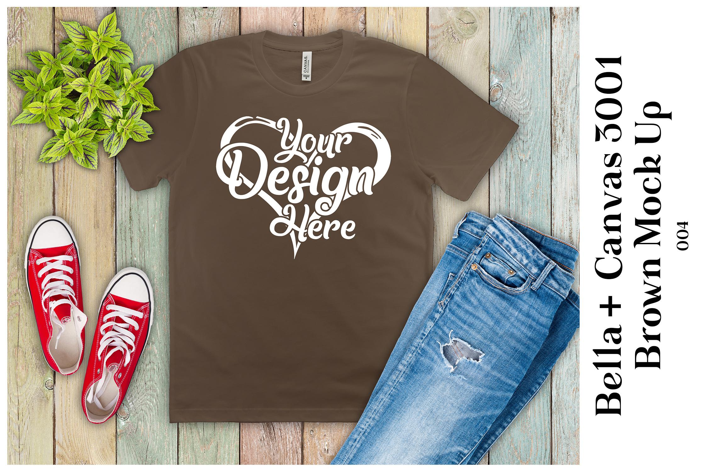 Mens Brown T-Shirt Mockup Bella Canvas 3001 Mock Up Flat Lay example image 1