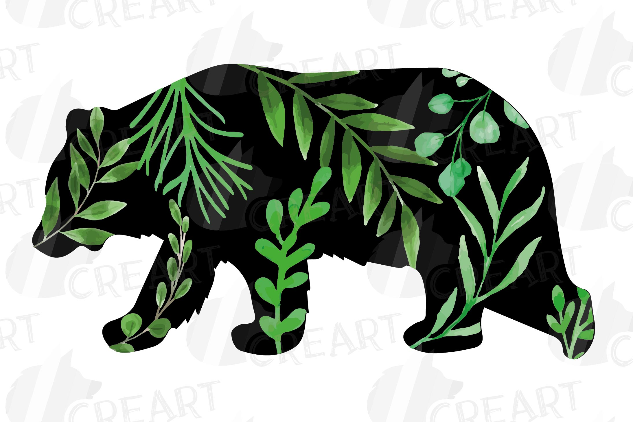 Floral bear family, sister, brother, baby, papa and mama example image 3