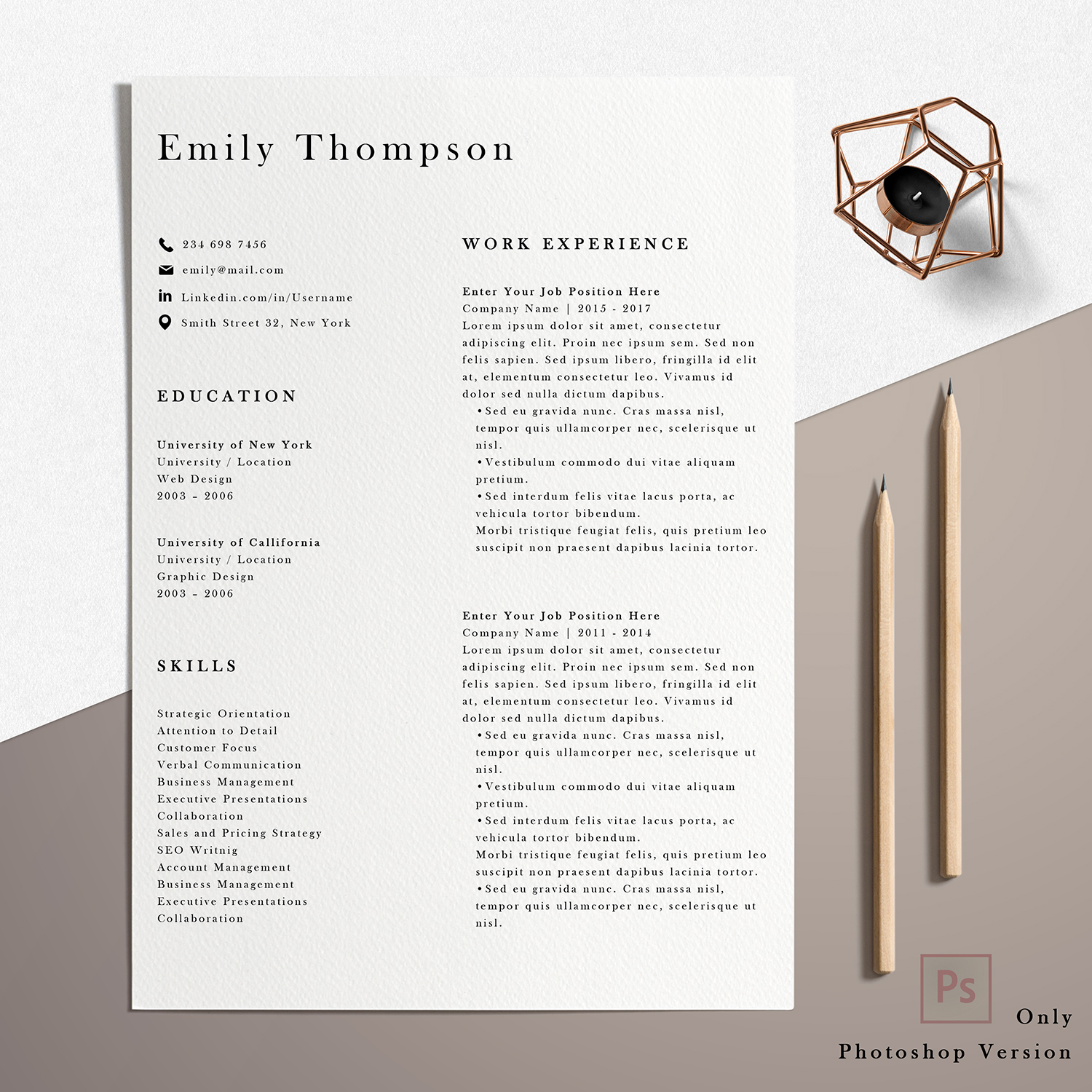 Resume Template | Photoshop CV Template - Emily example image 2