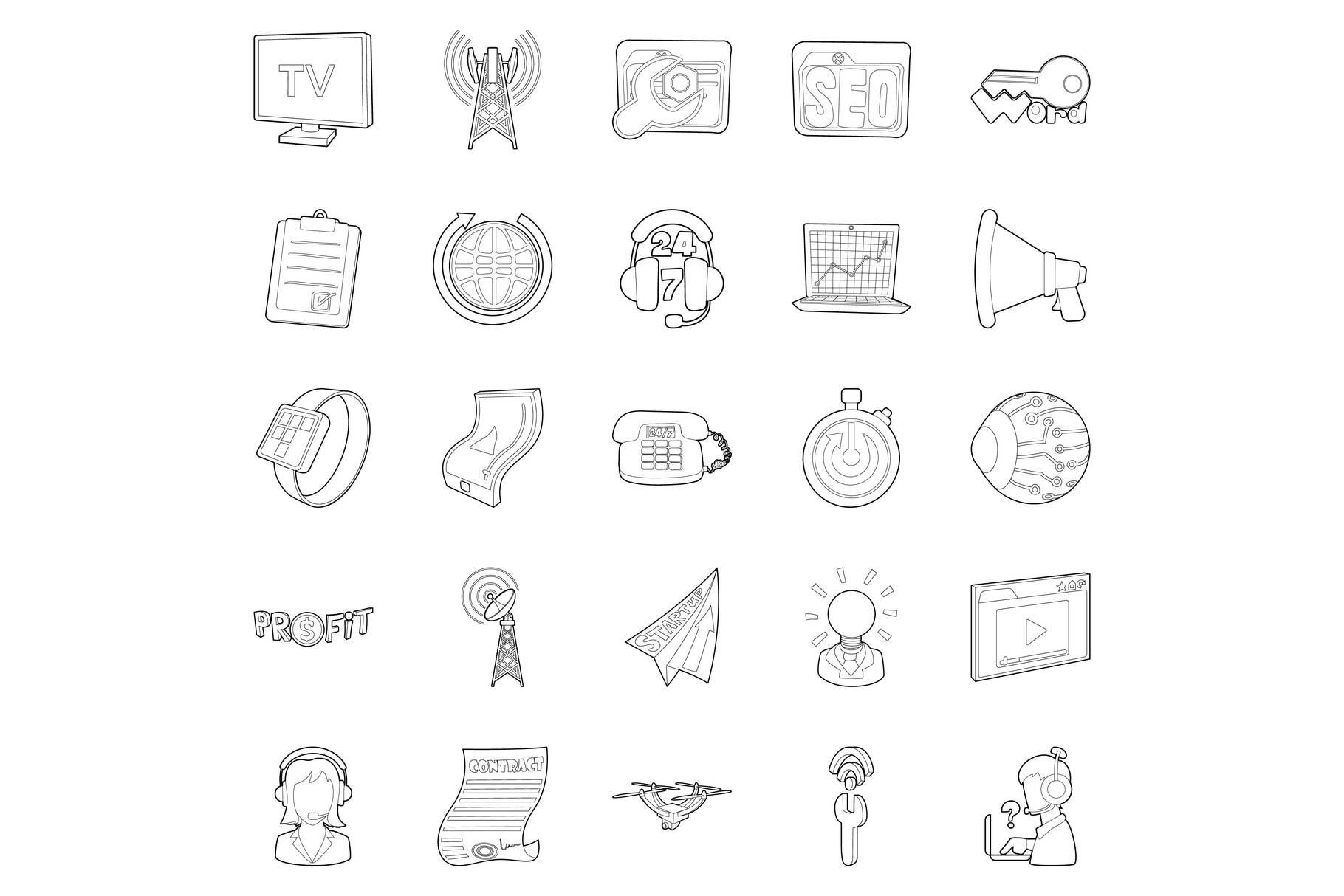 Field of activity icons set, outline style example image 1