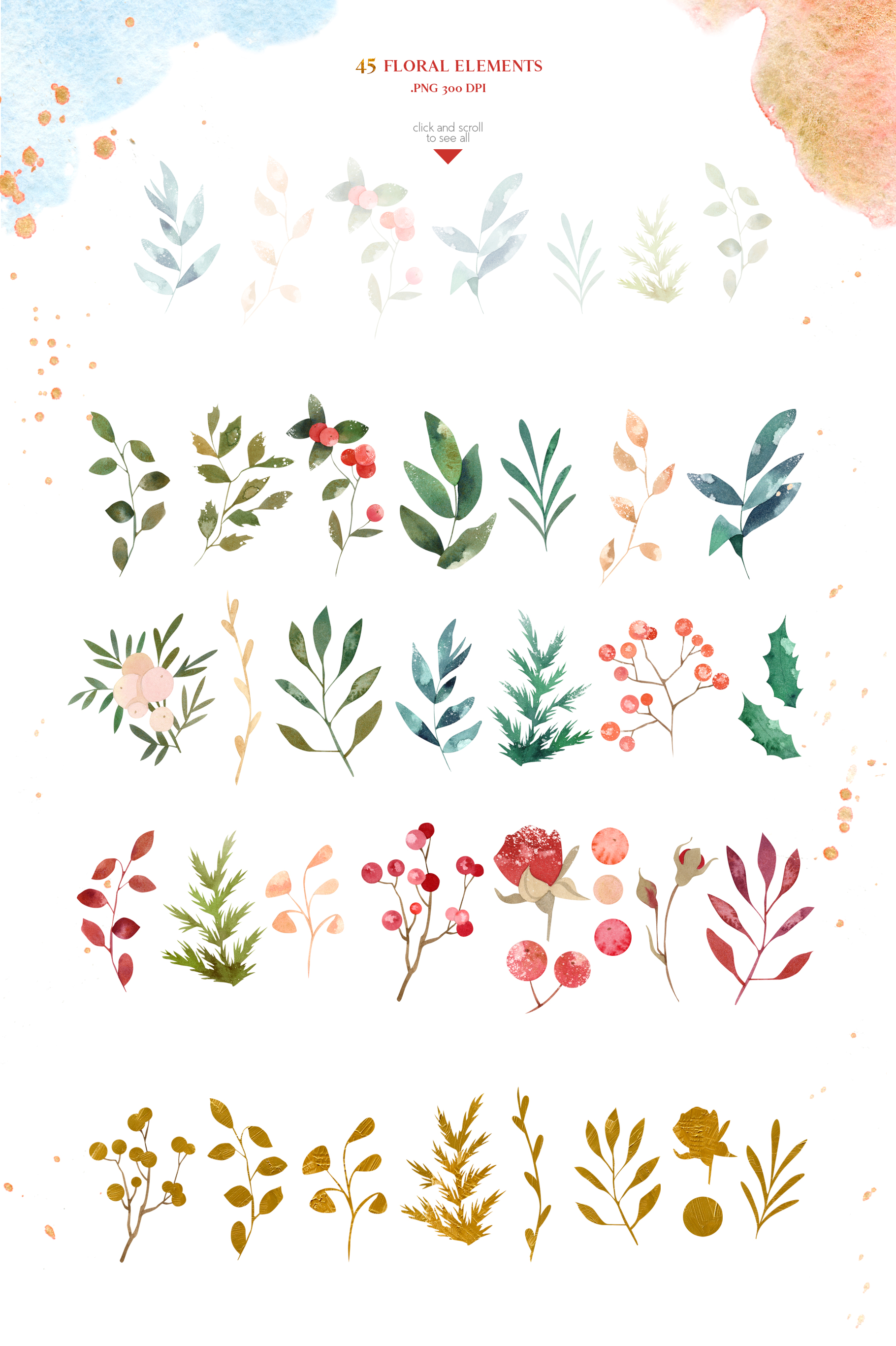 Merry Christmas Watercolor Design Set example image 3