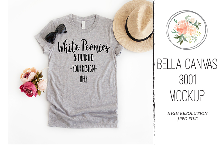 Athletic Heather Bella Canvas 3001 Shirt Mockup Spring example image 1