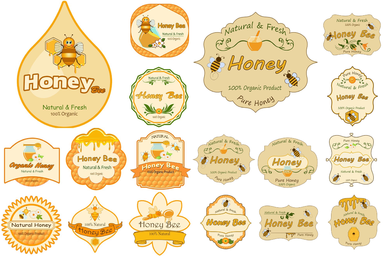 40 Honey Jar Labels PNG