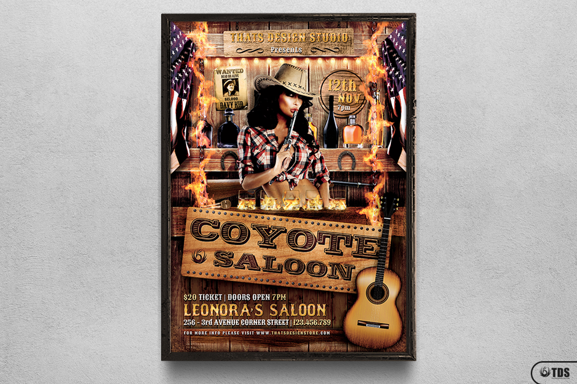 Coyote Bar Flyer Template example image 6
