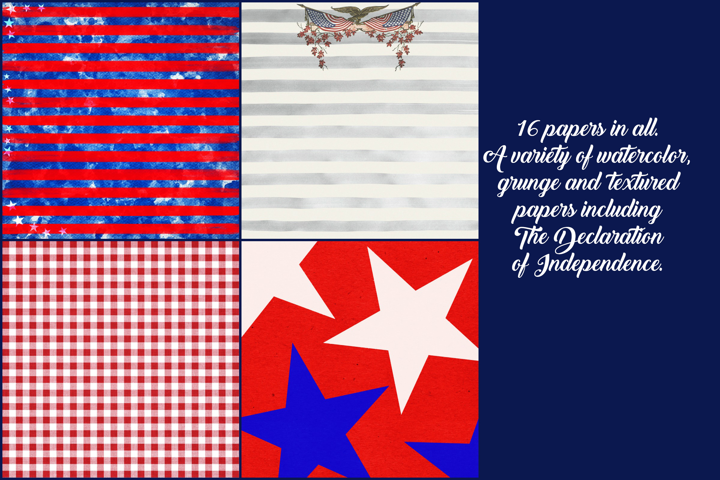 USA, 4th of July Patriotic Digital Papers example image 4