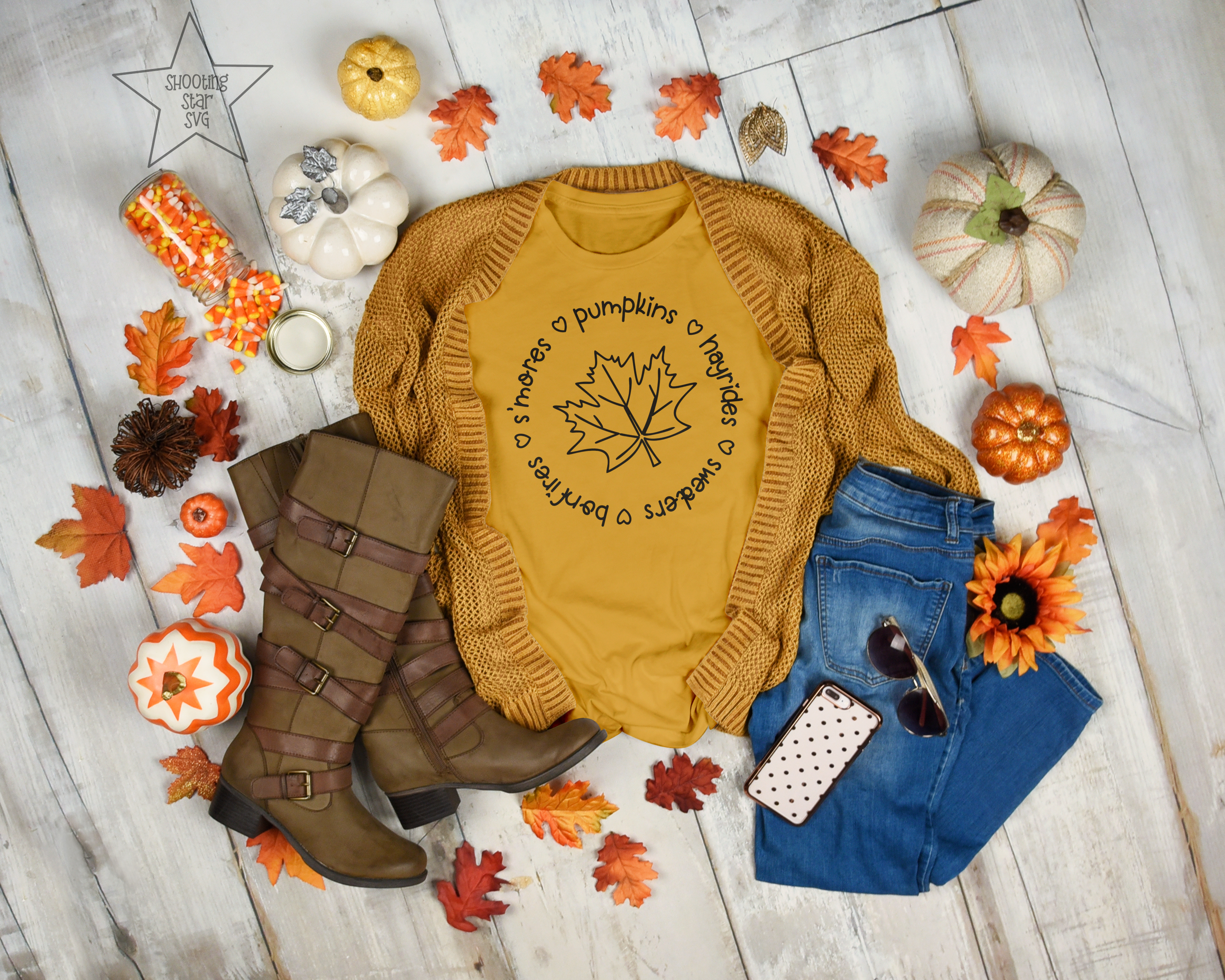 S'mores Hayrides Pumpkins Bonfires Sweaters - Fall SVG example image 2