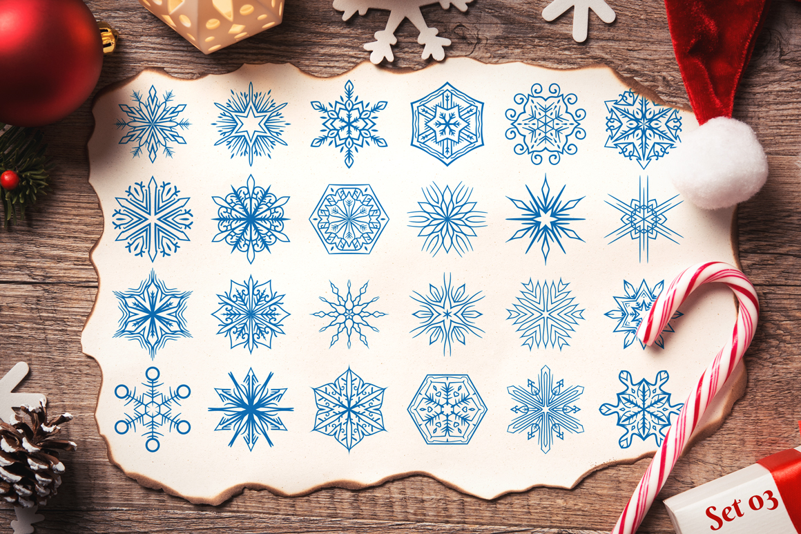 500 Snowflake Vector Ornaments example image 6