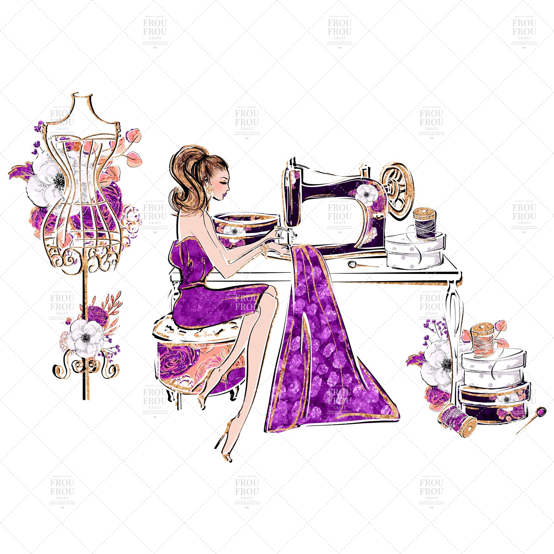 Fashion Designer Sewing Gold Glitter Clip Art example image 6