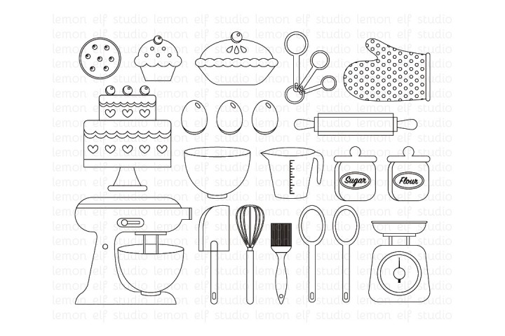 Baking Utensils-Digital Stamp (LES.DS11) example image 1