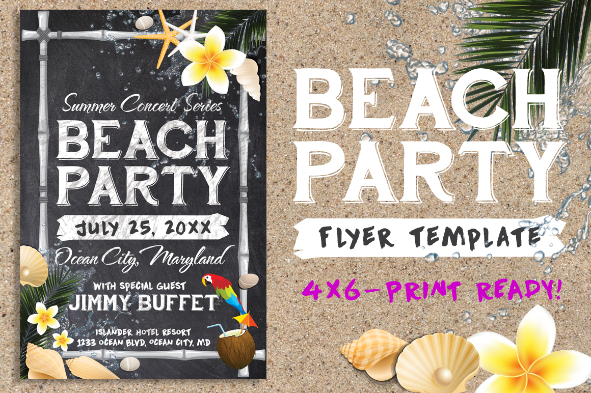 Chalk Summer Beach Party Flyer example image 1