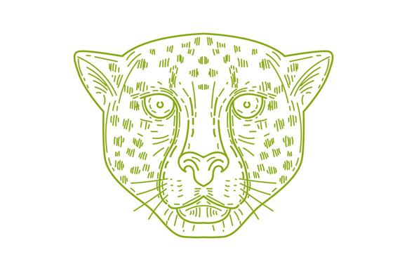 Cheetah Head Mono Line example image 1