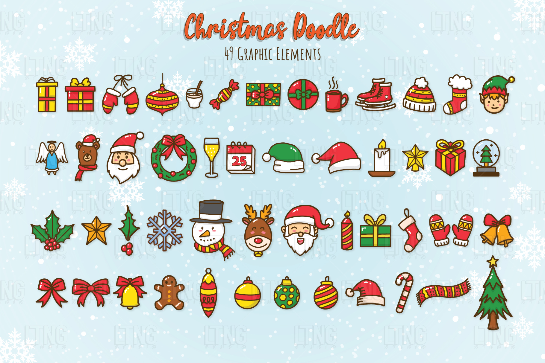 Christmas Doodle Graphic Element Part 1 example image 2