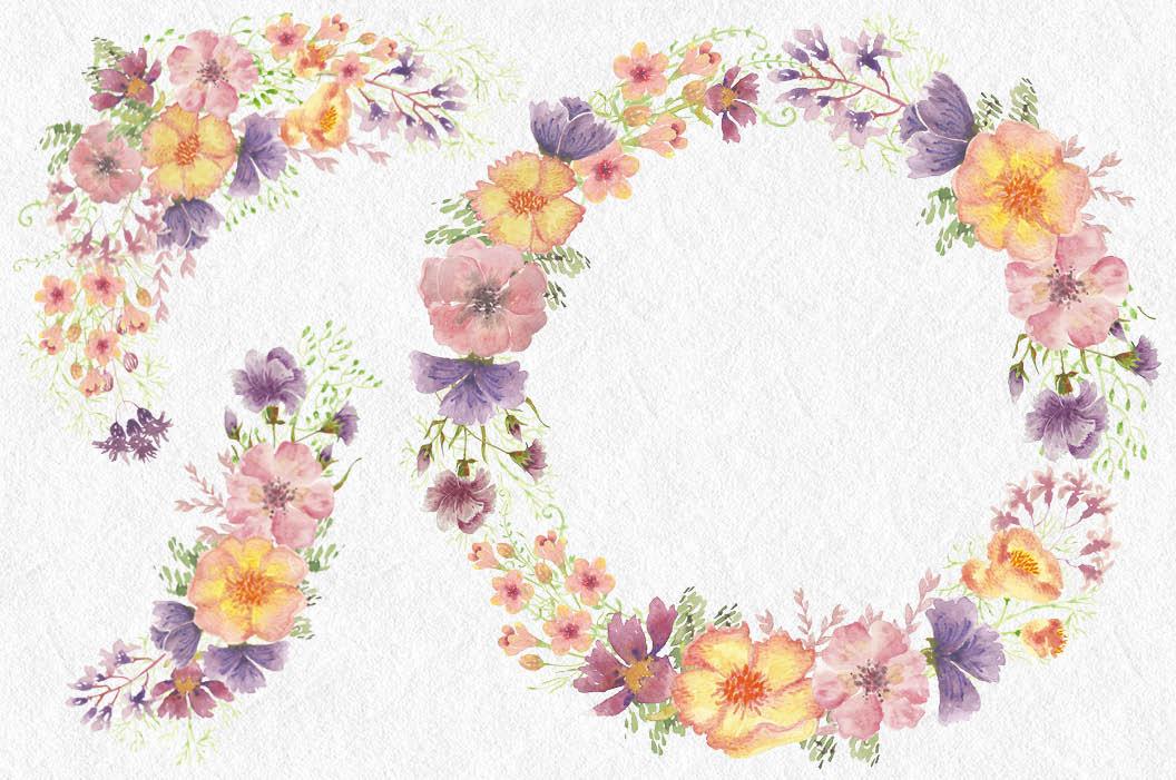 Watercolor clip art bundle: wild flowers example image 5