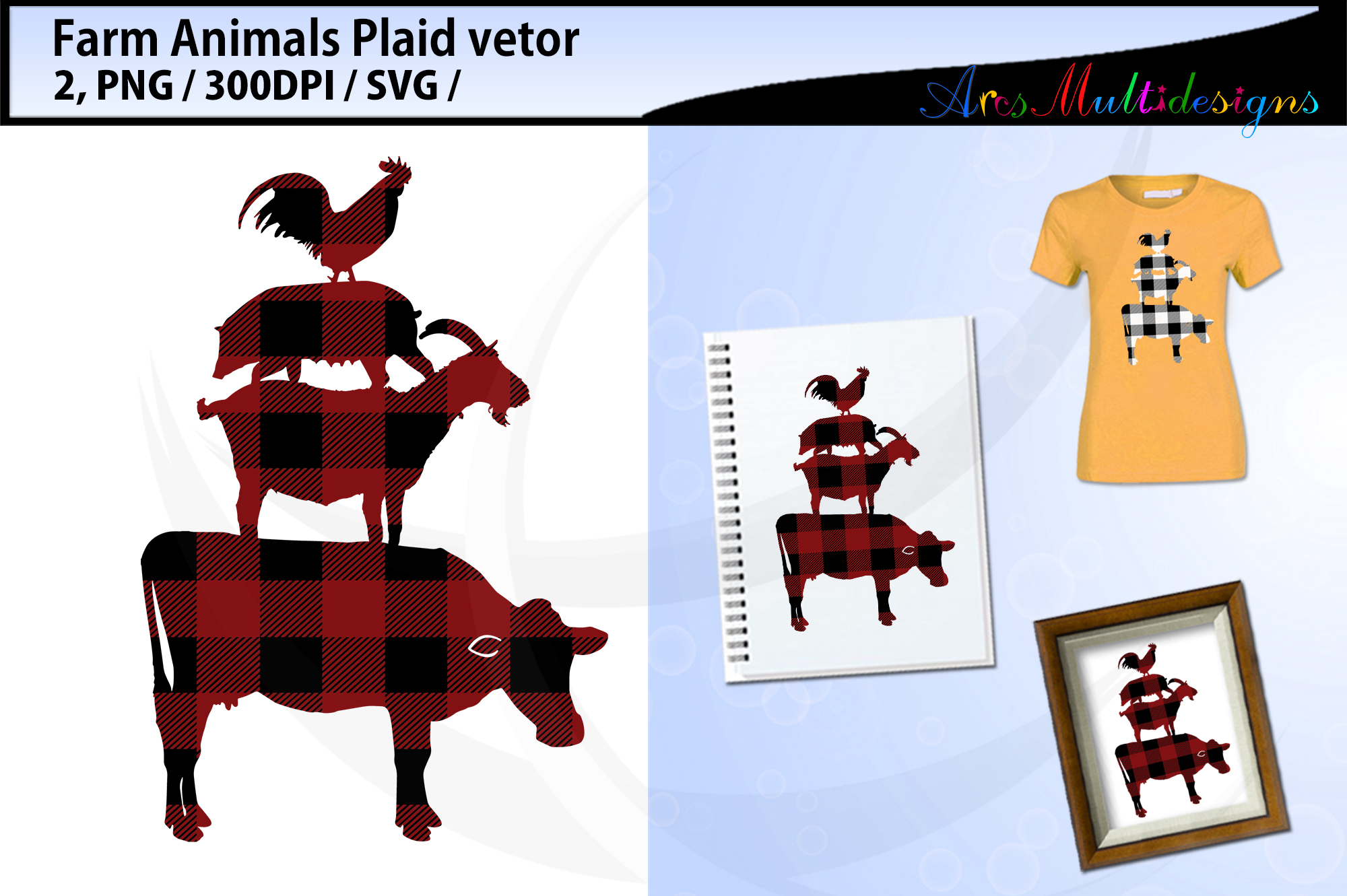 Plaid farm animal svg / plaid farm animal bundle vector example image 2