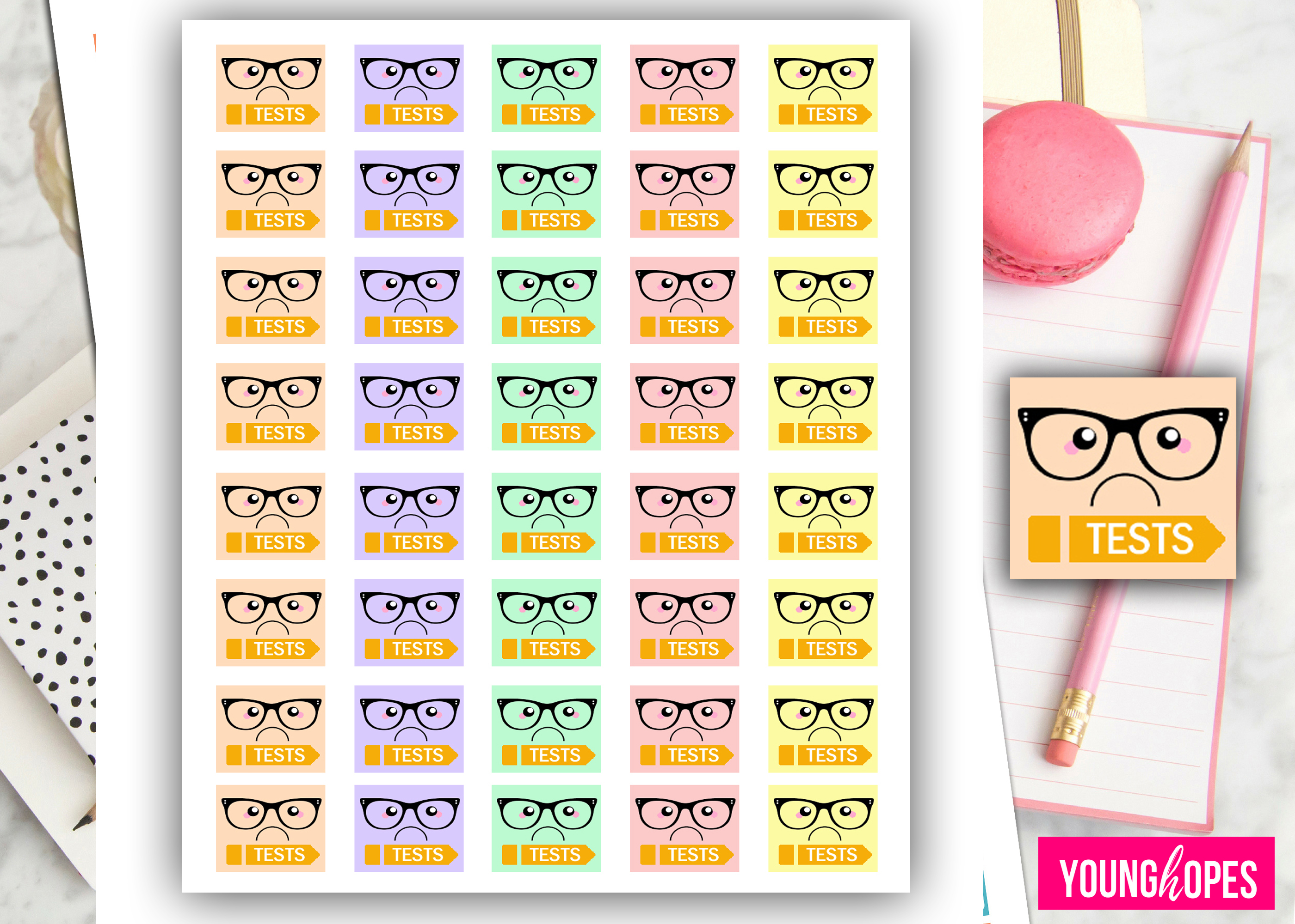 Kawaii Test Planner Stickers example image 2