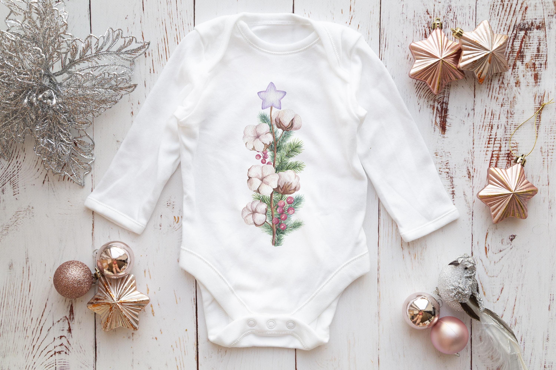 Long Sleeve Onsie, Infant bodysuit Mockup, rose gold & silve example image 2